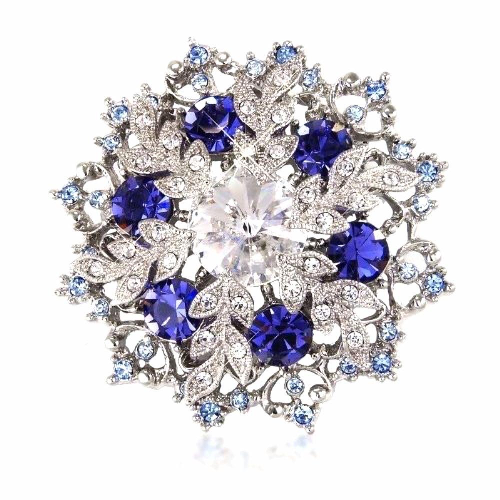 Swarovski Crystal Floral Brooch (Silver&Sapphire) 7bGpD8
