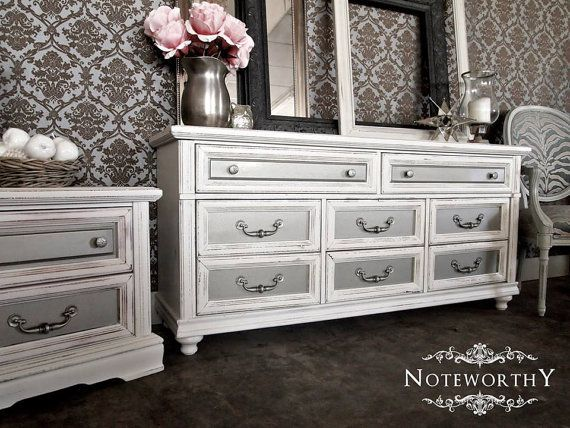 Hollywood Regency White And Silver Metallic Buffet Dresser Changing Table Nursery