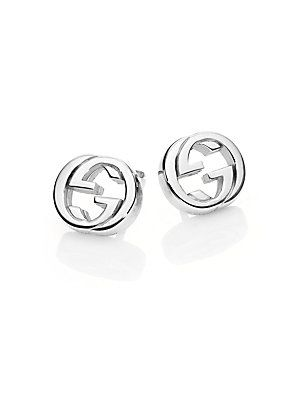 0b32047e829 Gucci Interlocking G Sterling Silver Stud Earrings - Silver - Size ...