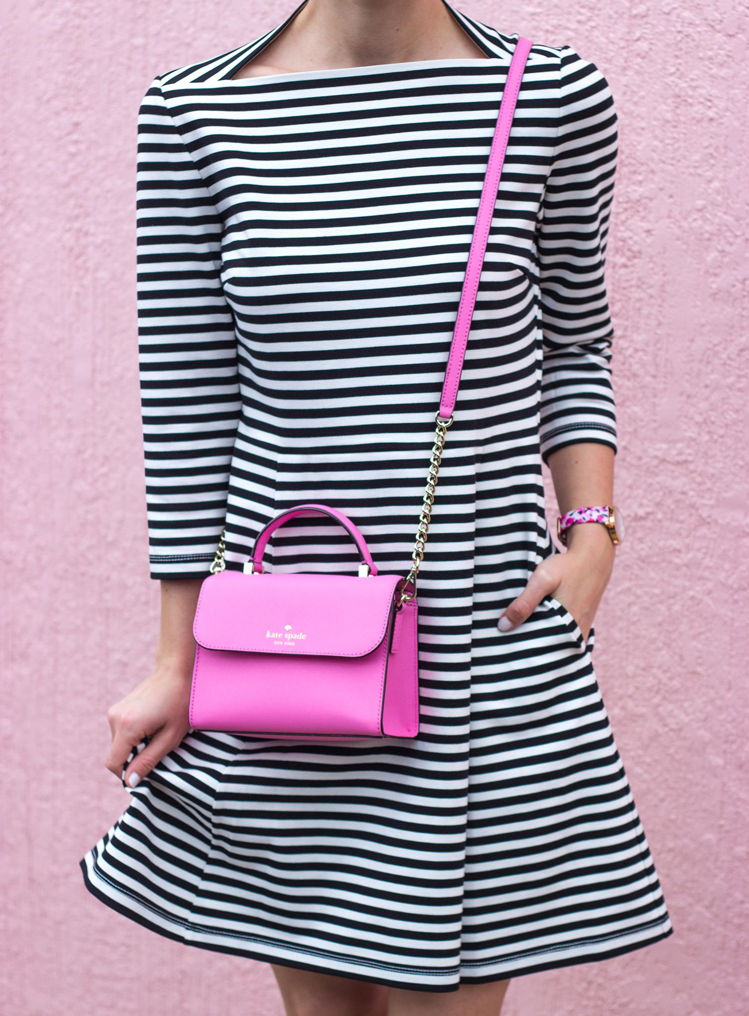 Livvyland X Kate Spade New York Everyday Dress In Stripes With A Rouge Pink Handbag
