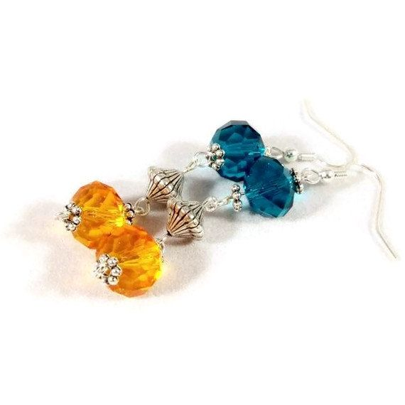 Earrings Crystals Orange Turquoise Blue by babbleon on Etsy, $5.00