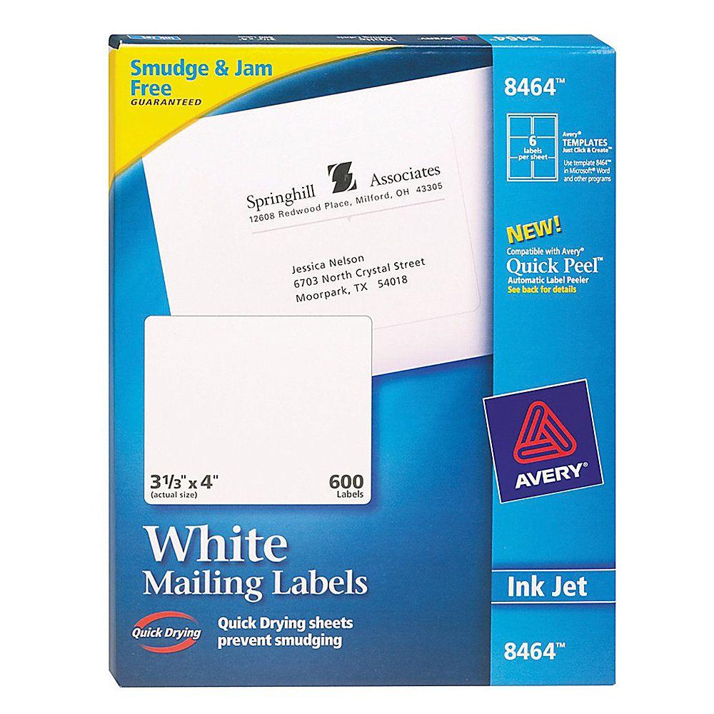 avery white inkjet shipping labels 3 1 3 x 4 box of 600 la