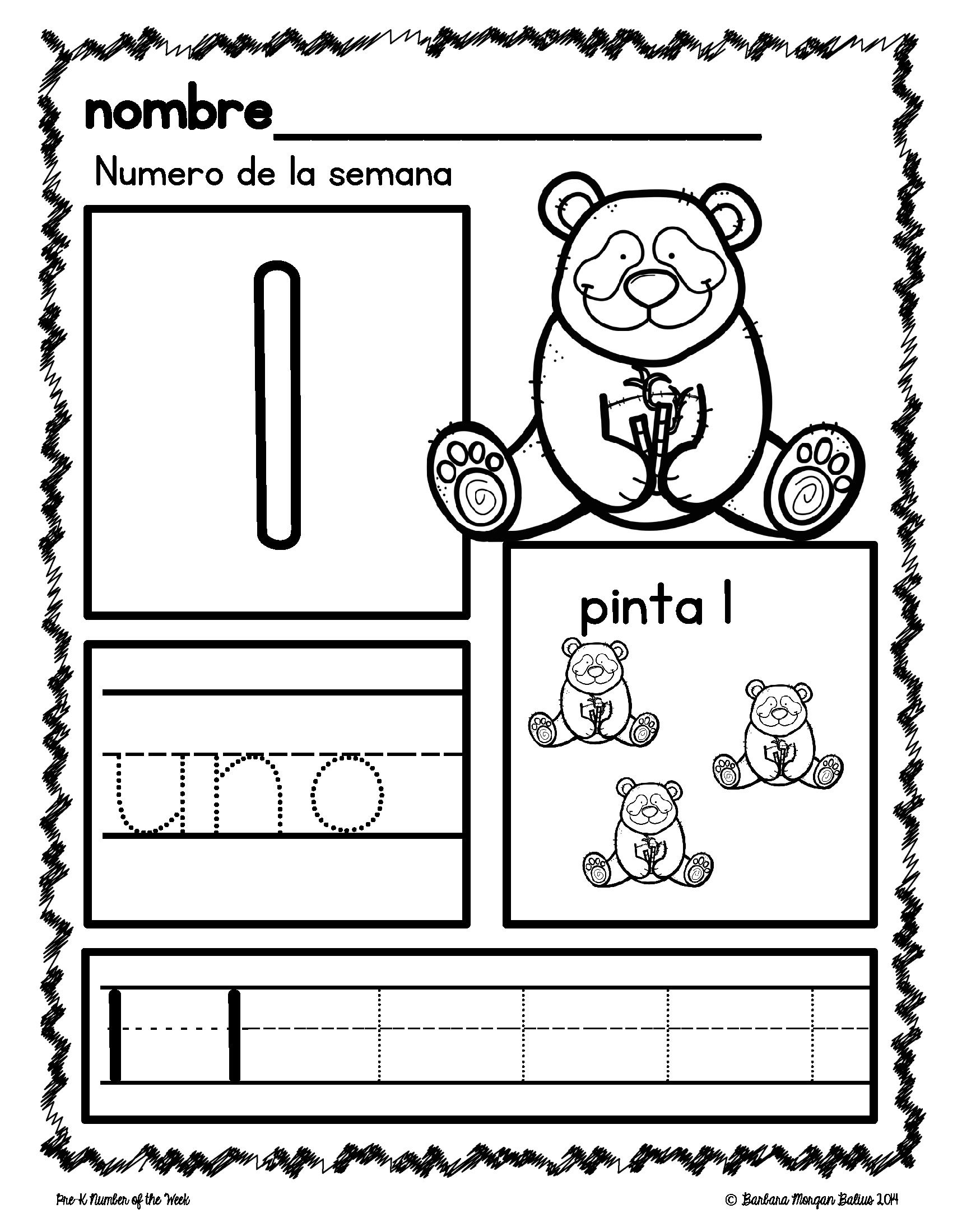 Pre K Math Numbers 1 5 Number Of The Week En Espanol