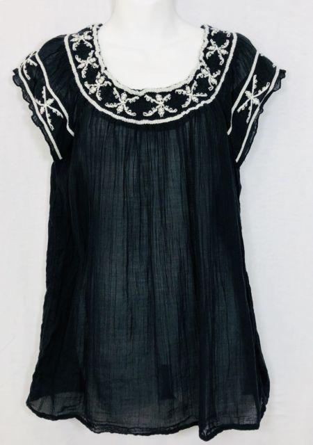 970f6ba9 Old Navy Women's Blouse Size Medium Black White Short Sleeve Plaid Semi- Sheer | eBay