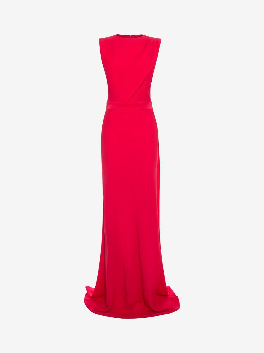 Alexander mcqueen open back evening dress long dress d f red glory