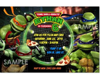 Teenage Mutant Ninja Turtles Invitation Template Instant Download