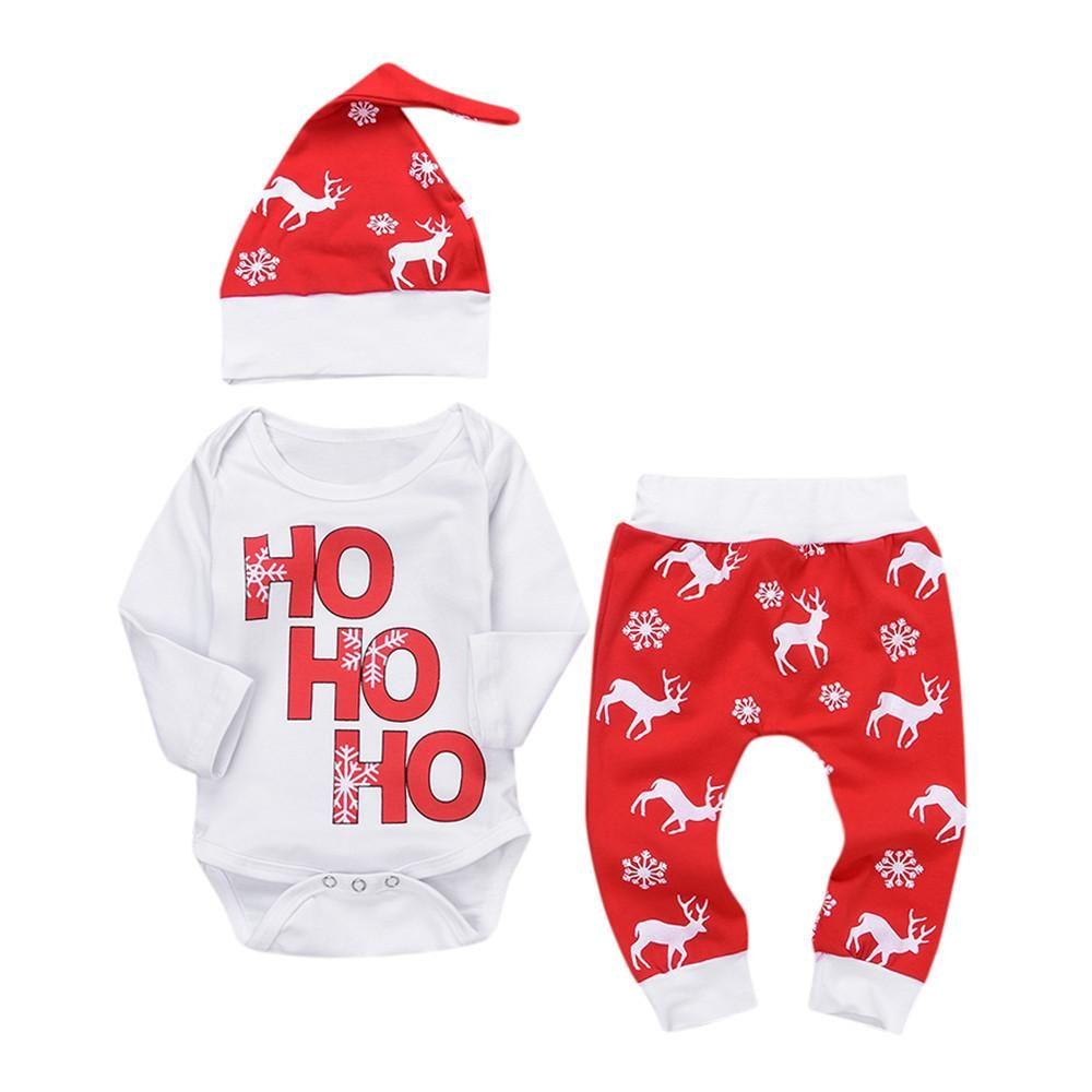 HOHOHO Christmas clothes Newborn Infant Baby Boy Girl Romper Tops ...