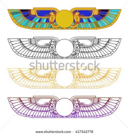 5ec3c44d1 Hand-drawn vintage tattoo art. Egypt Sun Disk, Wings, Ra, Cobra, Horus.  Vector illustration, tribal symbol of pharaoh, element of ancient Egypt  design in ...