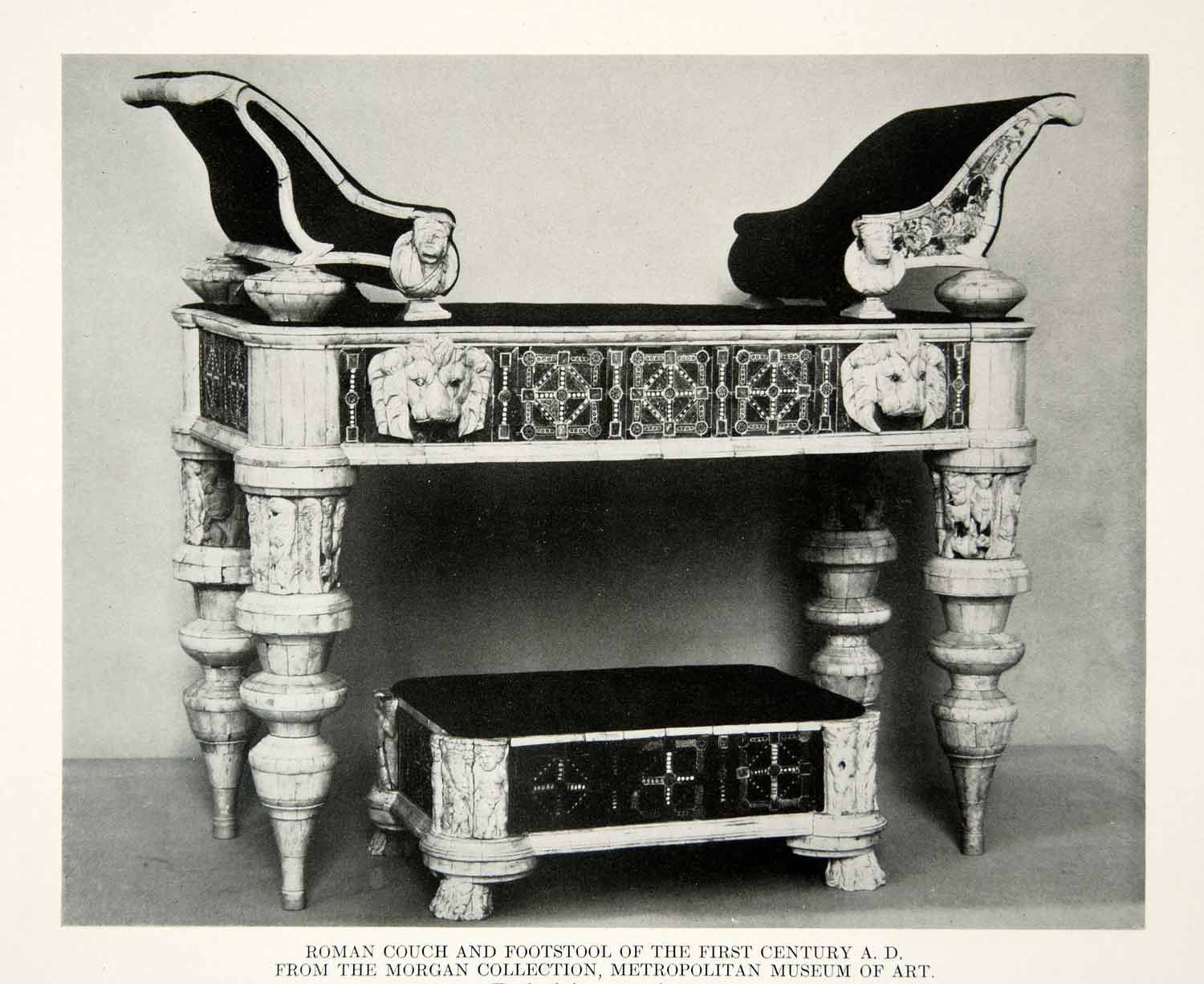 1918 Print Antique Roman Couch Footstool 1st Century Furniture Ancient Rome  | Http://