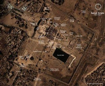 Una imagen por satelite de los templos de Karnak