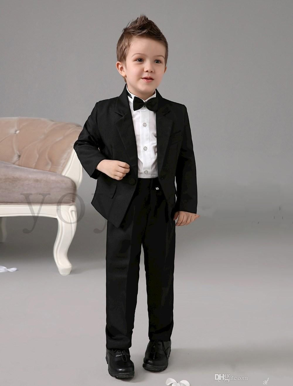 b0635b8697c040 Formal Wear Kids Four Pieces Luxurious Black Ring Bearer Suits Cool Boys  Tuxedo With Black Bow Tie Kids Formal Dress Boys Suits Fashion Kids Suit  Kids ...