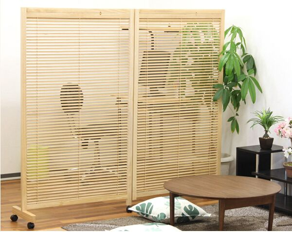 Japanese Movable Wood Partition Wall 2-Panel Folding Screen Room ...