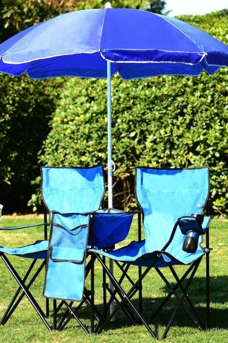 Double Portable Folding Picnic Chair W//Umbrella Table Cooler Beach Camping Chair