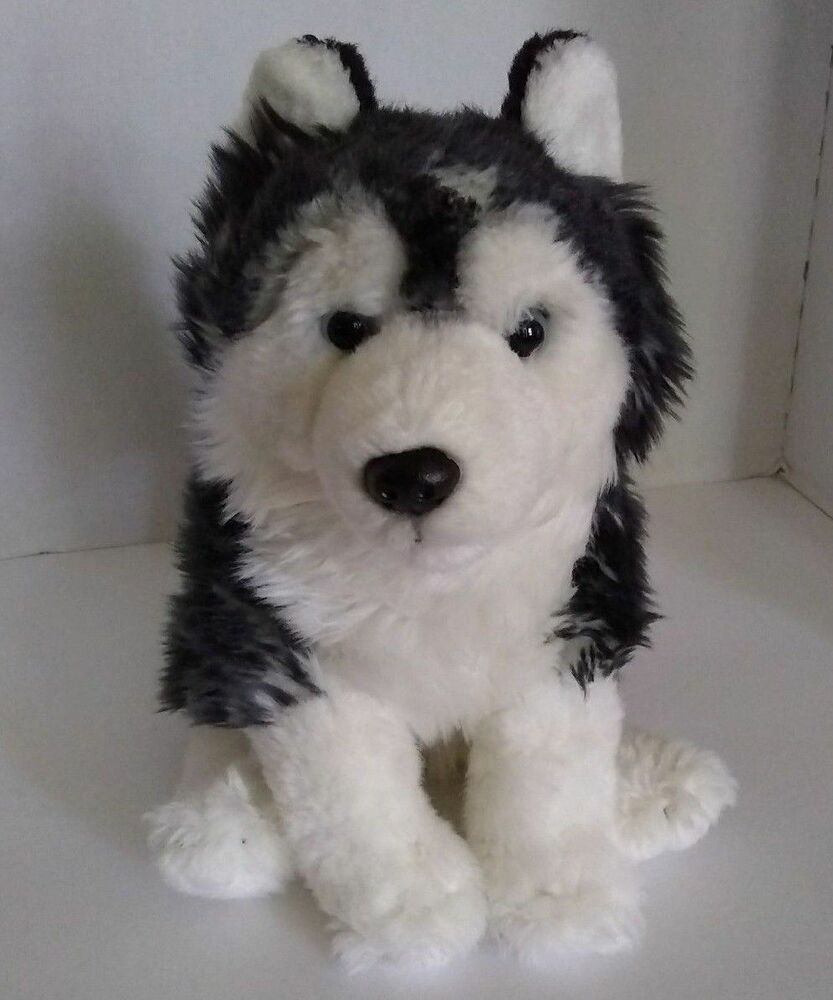 Siberian Husky Dog Plush Stuffed Toy 10 Black White Blue Eye