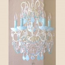 Exquisite Rose 5 Light Beaded Chandelier with Opal Blue Crystals