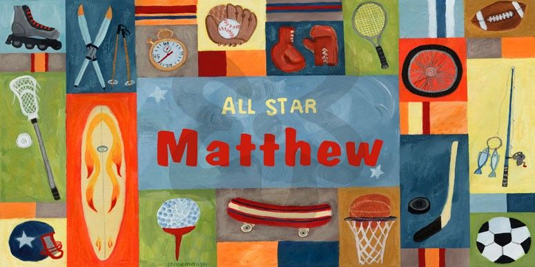 Sports All Star - BOY - Personalized - Personalized Canvas Wall Art | Oopsy daisy  sc 1 st  Pinterest & Sports All Star - BOY - Personalized - Personalized Canvas Wall Art ...