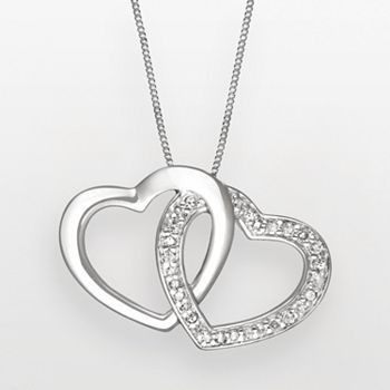 Two hearts forever one sterling silver 14 ct tw diamond heart two hearts forever one sterling silver 14 ct tw diamond heart pendant kohls aloadofball Image collections