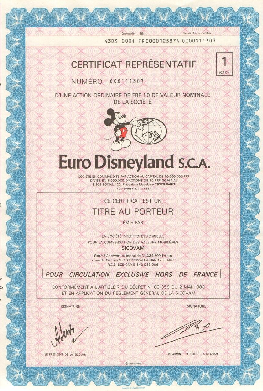 Euro disneyland sca bearer bond certificate 1989 cool disney euro disneyland sca bearer bond certificate 1989 cool disney collectible with mickey mouse vignette 1betcityfo Choice Image
