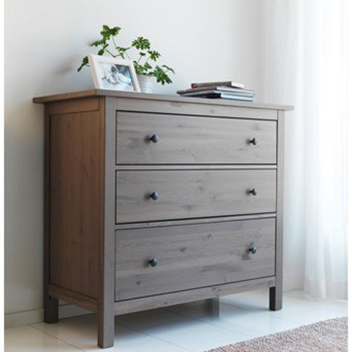 Ikea hemnes dresser chest with 3 drawers for Ikea grey bedroom furniture