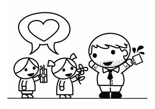 Dibujo para colorear Da del Padre con hijo e hija  bbf