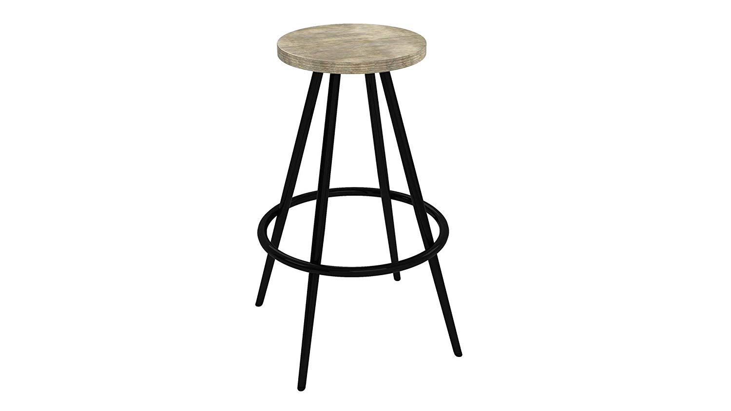 Novogratz Leo Farmhouse 29 5 Inch Bar Stool With Footrest Rustic And Modern Style Black Metal Frame With Gre Grey Wood Black Metal Frame Luxury Dining Tables