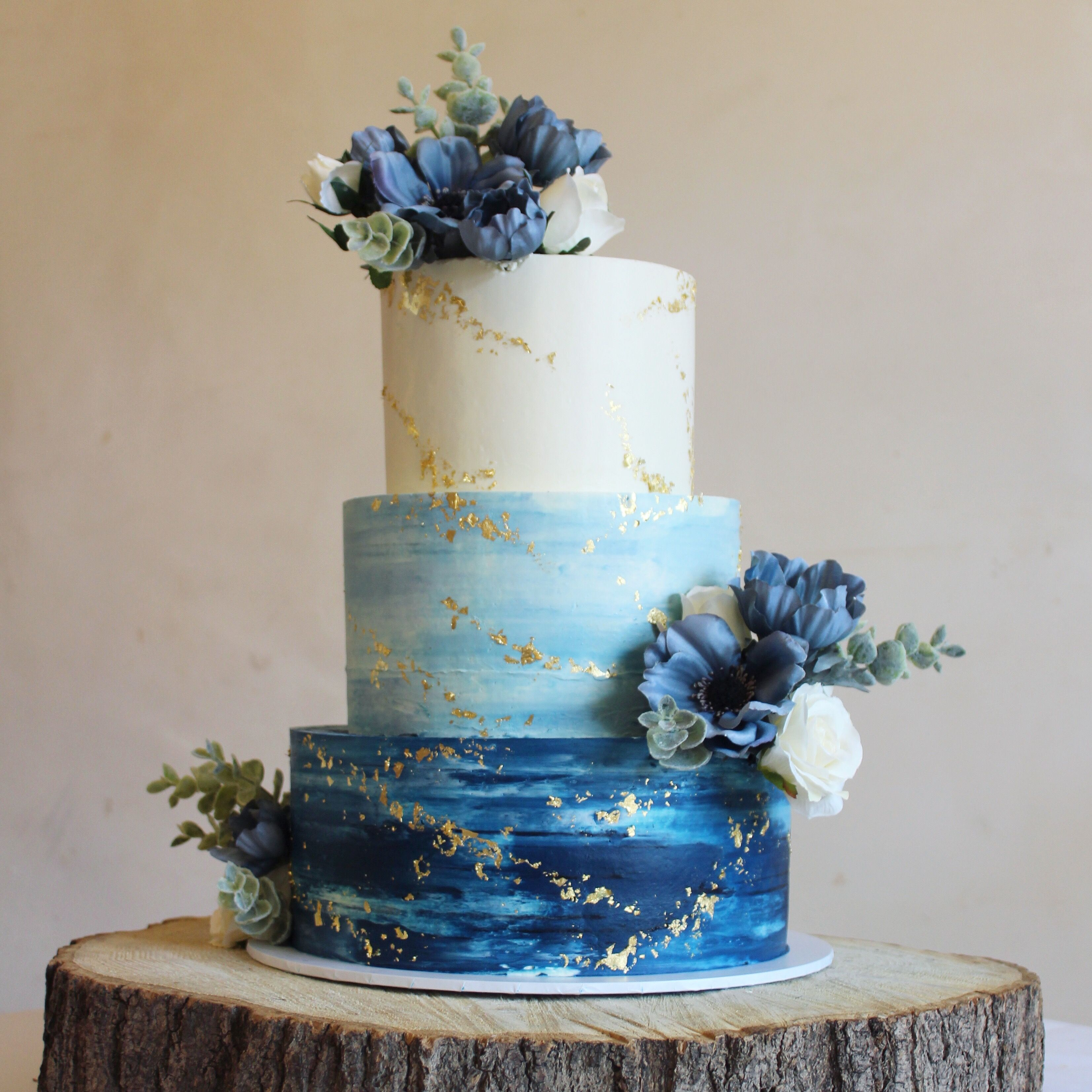 Watercolour Buttercream Wedding Cake With Gold Foil And Faux