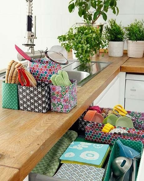 Decoracion facil: diy.....divertidas cajas forradas para la cocina ...
