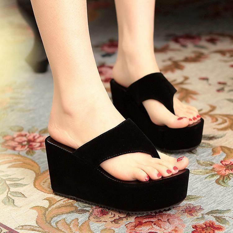 Womens Fashion Platform Thongs Sandals Summer Wedge Heels