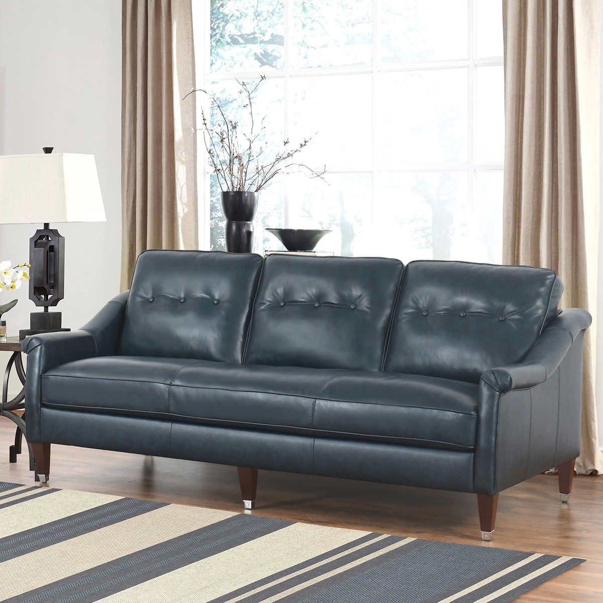 Kingston top grain leather sofa Costco Top grain
