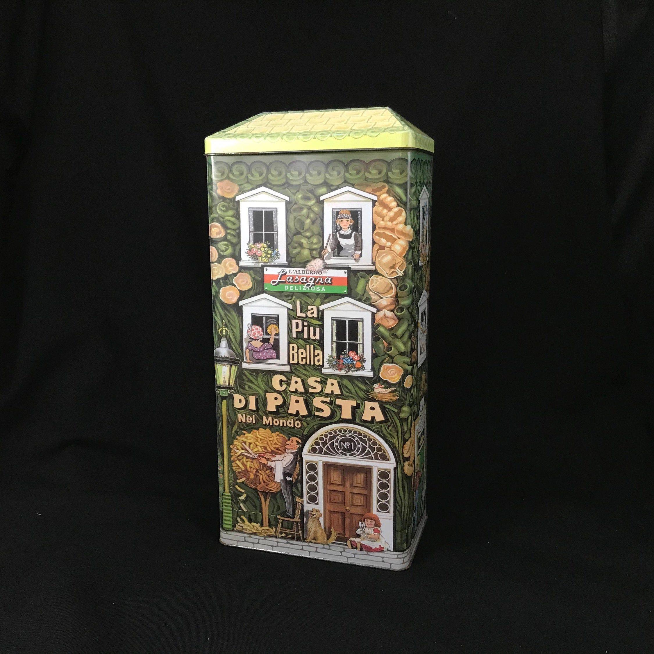 La Piu Bella Casa Di Pasta Vintage Tin Building Tall Pasta Tin Made in USA The Olive Can Company 1997 by the Silver Crane Company