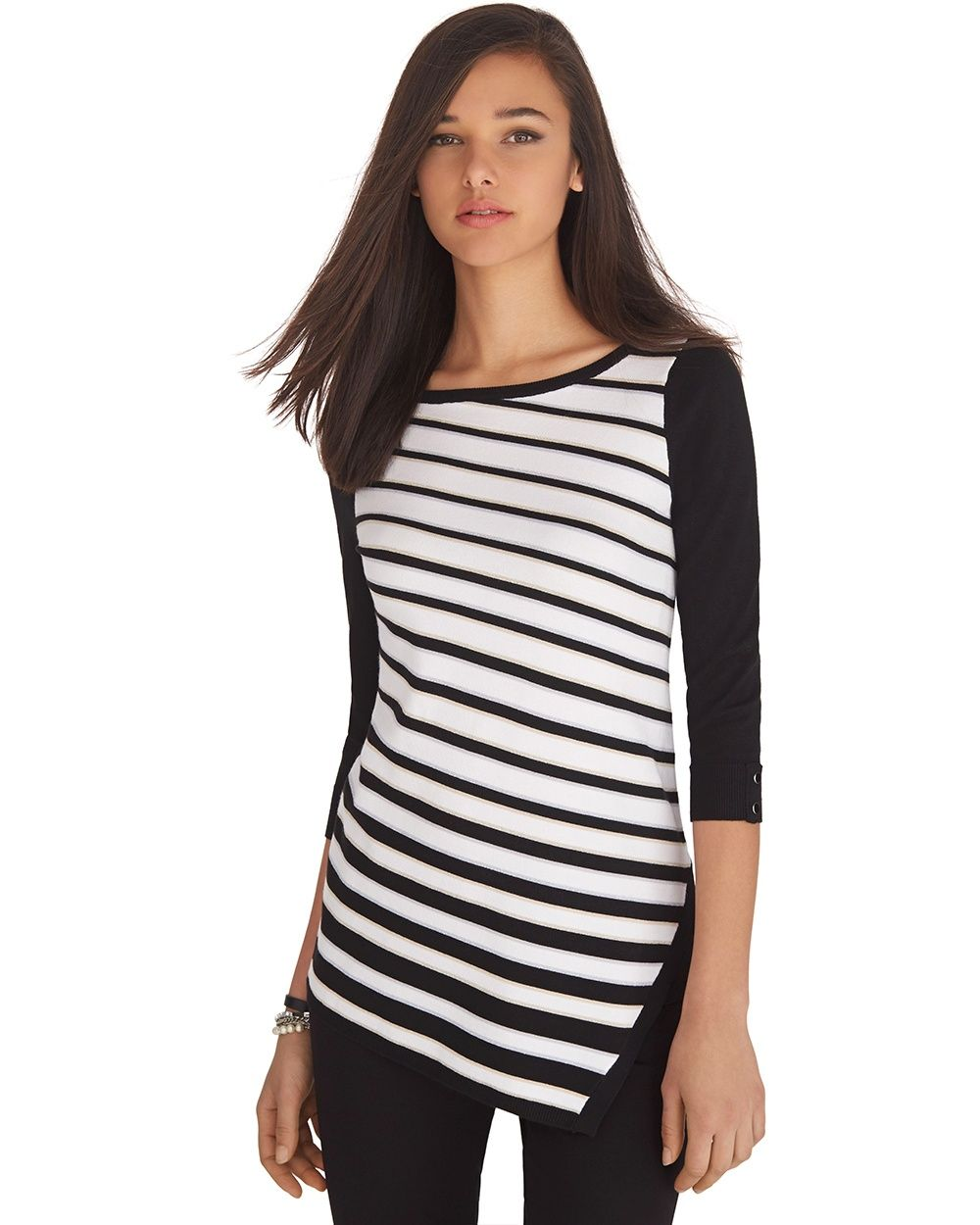 3/4 Sleeve Asymmetrical Stripe Tunic Sweater - White House | Black ...