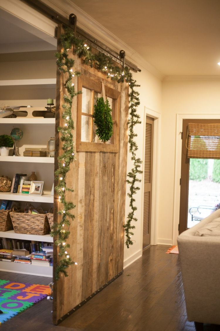 How To Decorate A Barn Door For Christmas Silver And White Decor Holiday