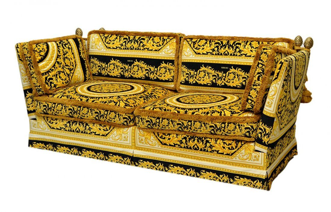 Versace Orleans Framed Sofa Purchased Through The Houston Home Heritage Collection Medusa Foliate Black And Gold Upholstery