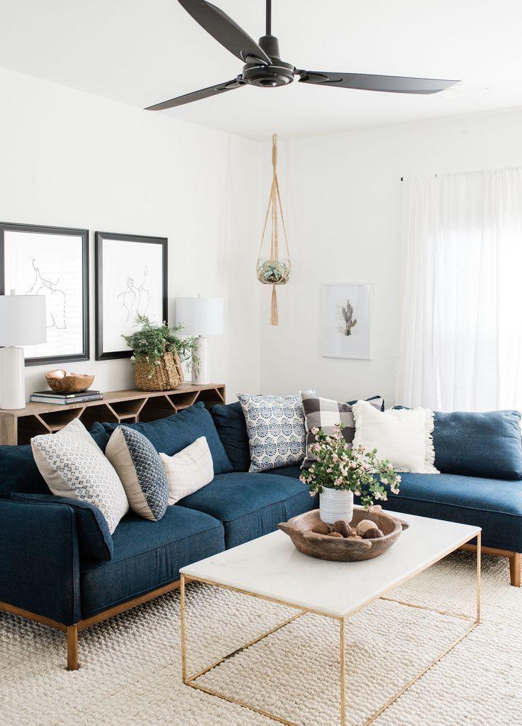 Modern Boho Living Room Decor With Blue Velvet Sofa And Gold Coffee Table Navy Sofa Boho Living Room Decor Modern Boho Living Room Living Room Decor Apartment