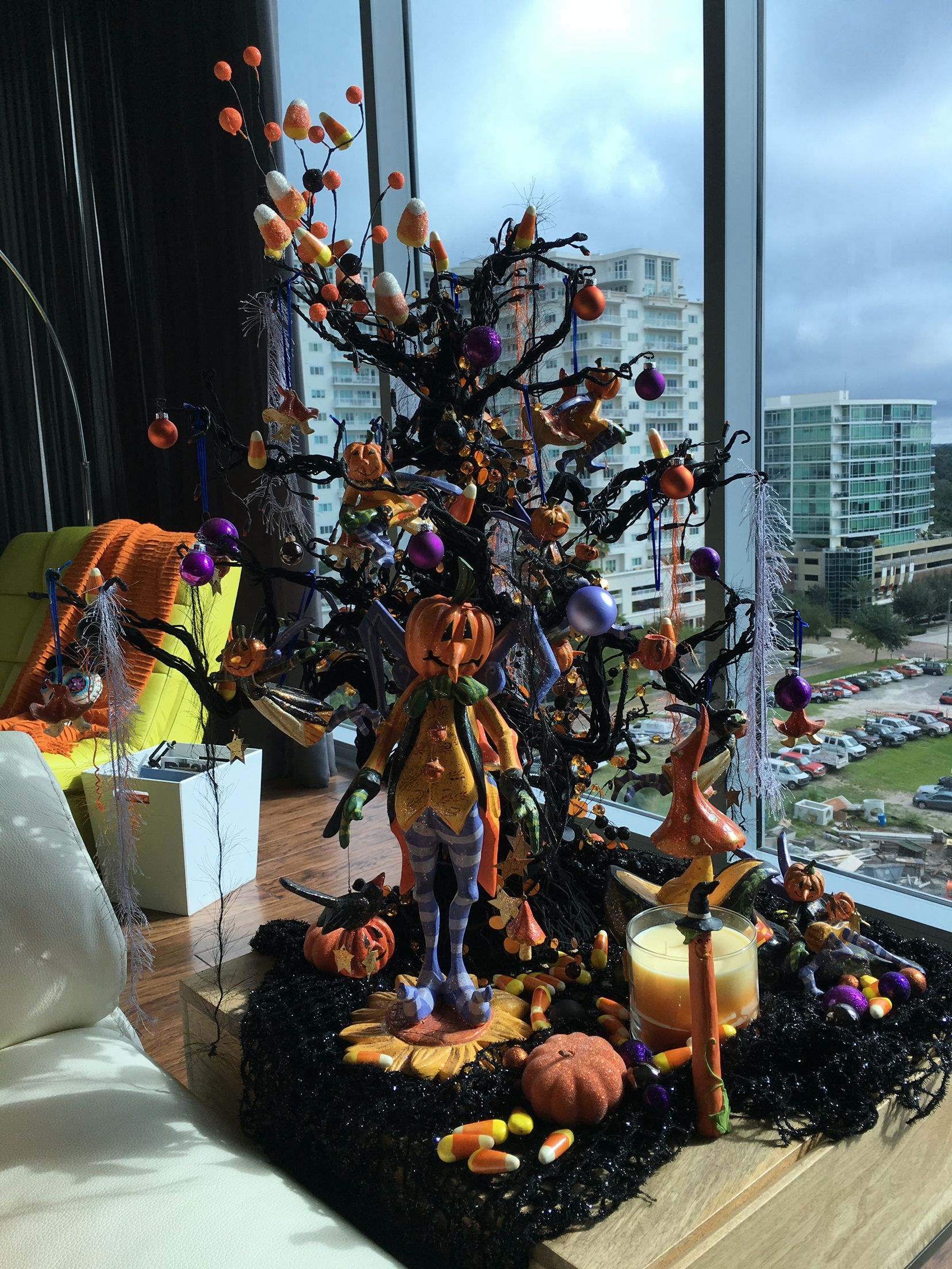 Halloween decor, whimsical pumpkin men, orange, black and lavender - whimsical halloween decorations