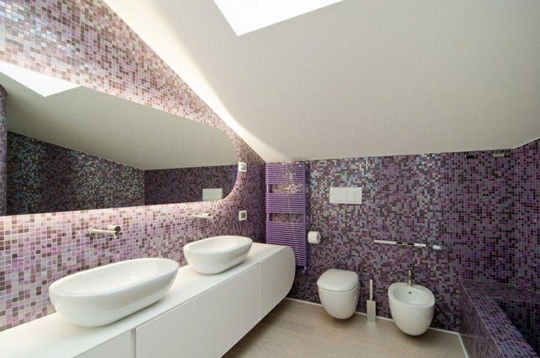 mosaico purpura precioso en el baño moderno baños Pinterest