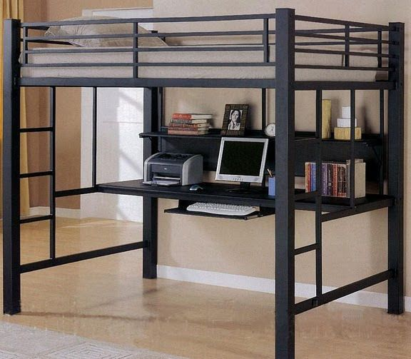 Full Size Loft Bed In Black With Computer Workstation Rz 06 Ikea Loft Bed Bunk Bed With Desk Loft Bed Frame Full size bed with desk