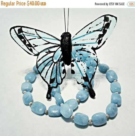 17 Inch Aquamarine And Silver Necklace Beads Blue Handmade Aquamarinesgifts For Heranniversary