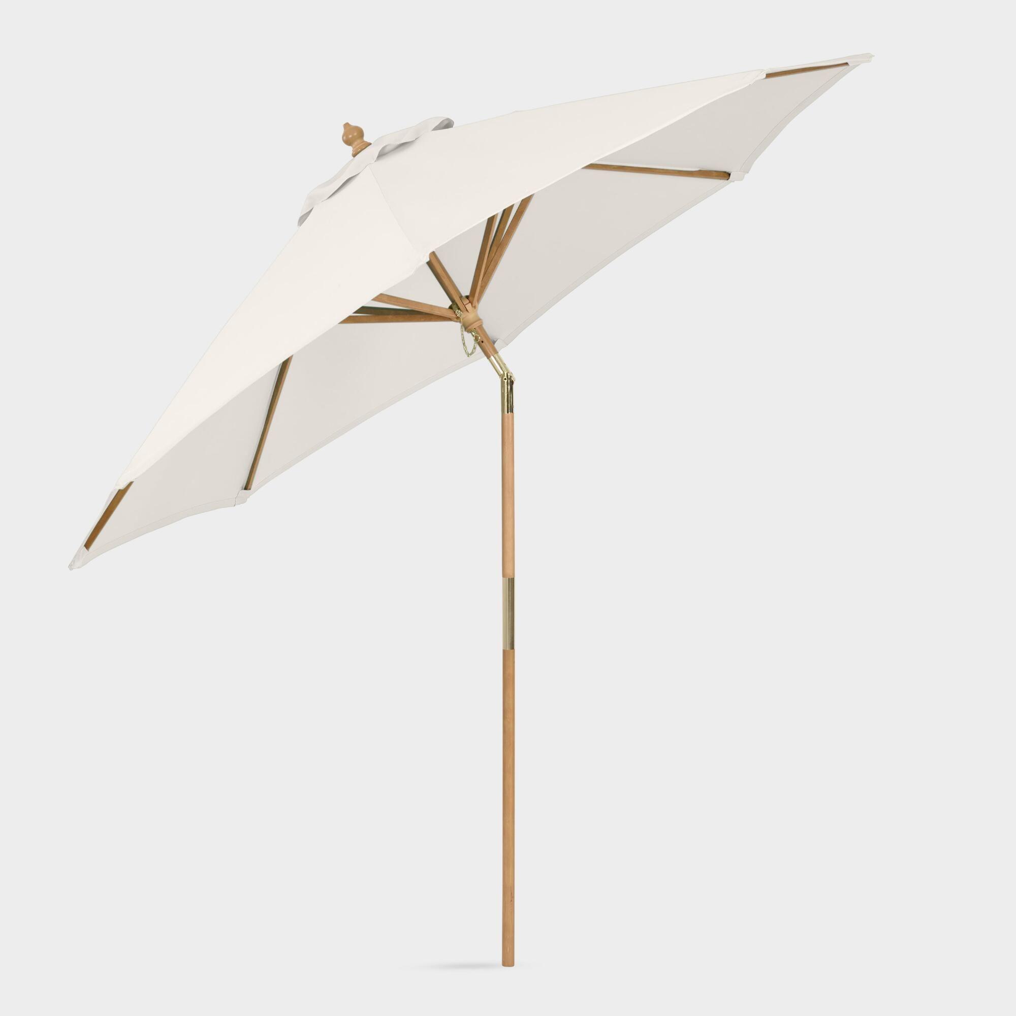 Natural Tilting 9 Ft Outdoor Patio Umbrella Frame And Pole