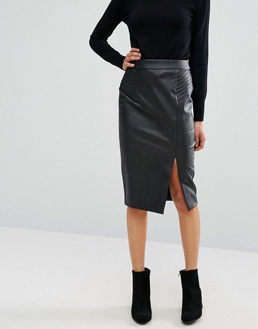 Oasis Faux Leather Pintuck Wrap Pencil Skirt | My Style | Pinterest