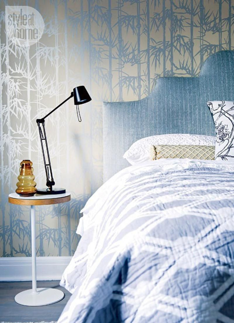 The metallic gold/blue bamboo wallpaper in this bedroom is stunning - Style At Home