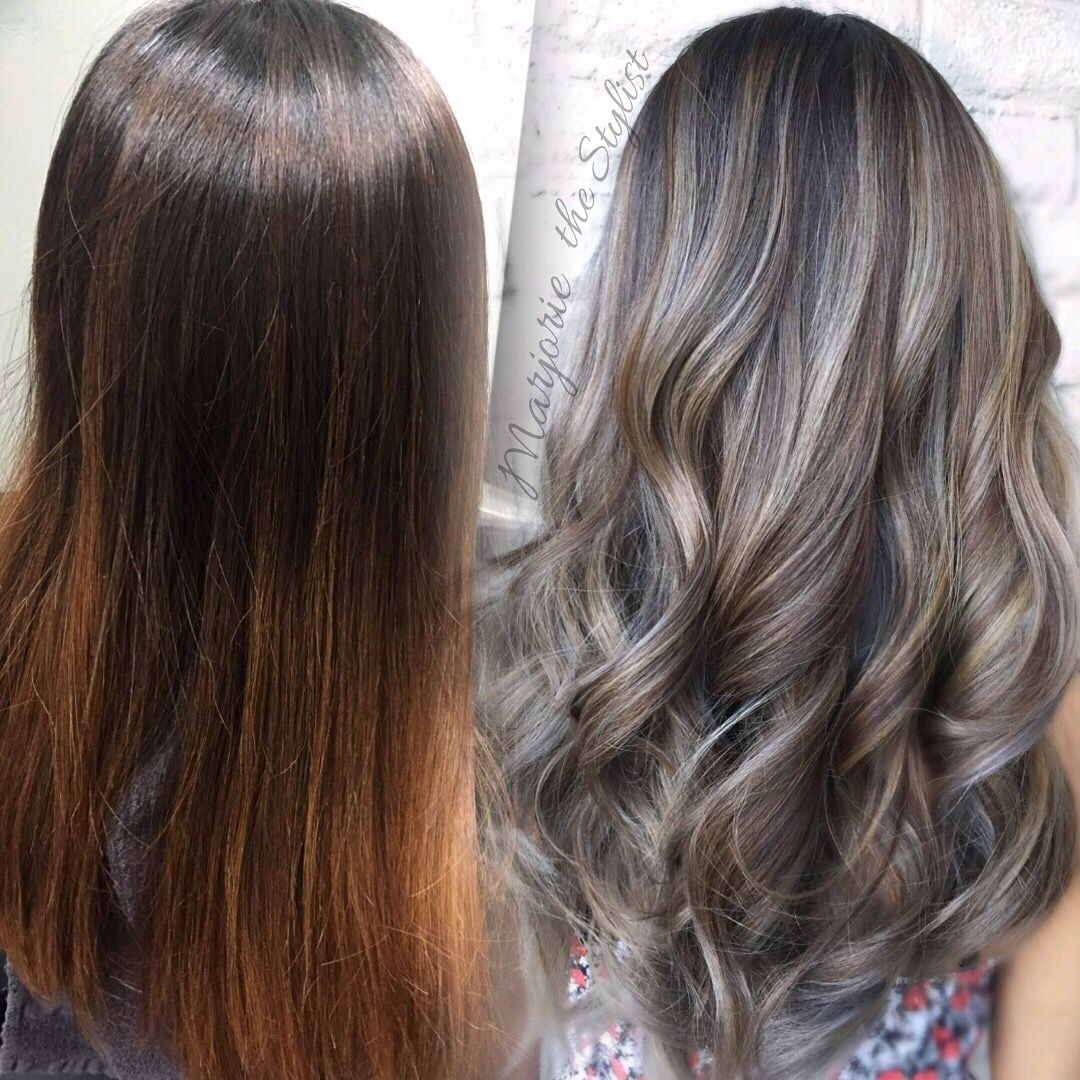 Grey babylights and balayage By Marjorie @ Lux Salon #glamiris #guytang…