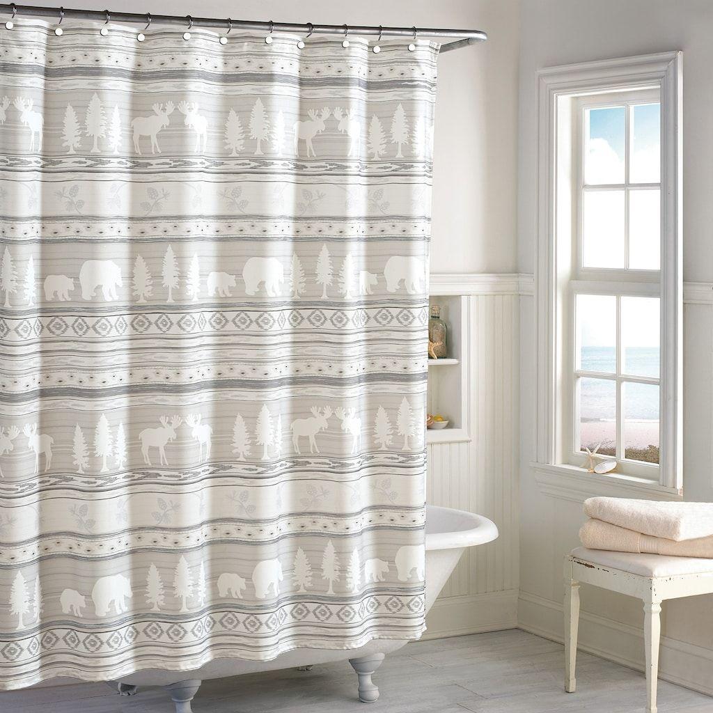 Signature Saranac Wilderness Shower Curtain Beig Green 72x72 In