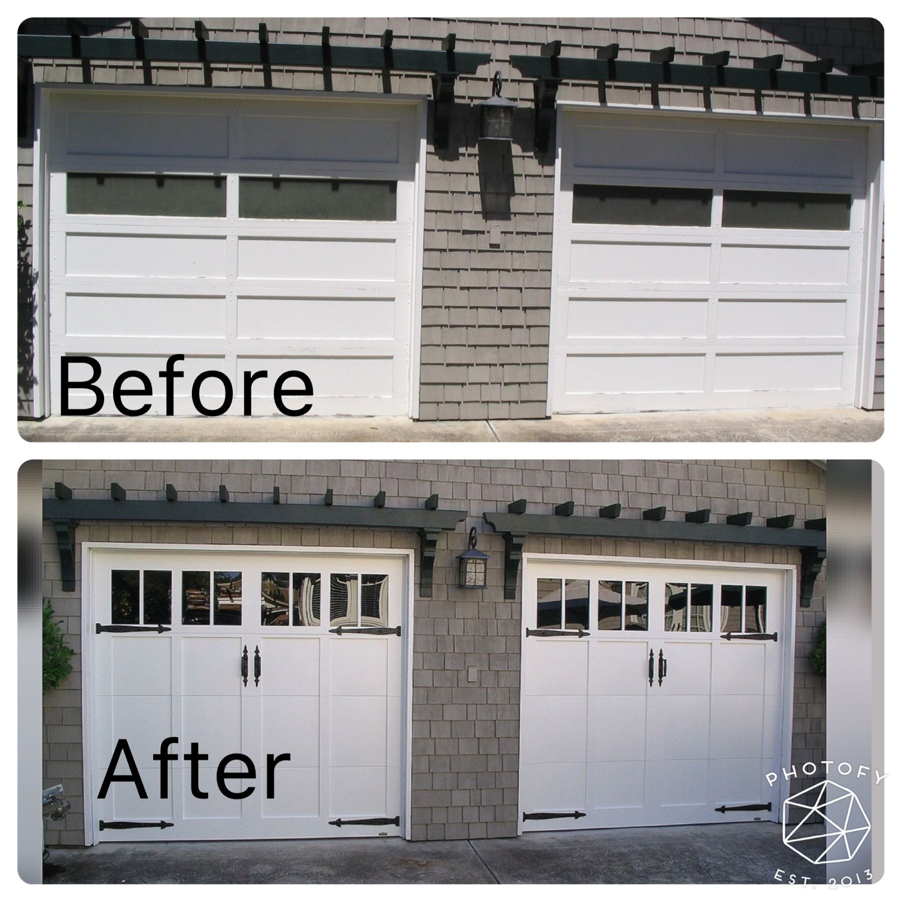 Fabulous Carriage Style Door Before And After Visit Our Website For All Our Fabulous Options Carriage House Doors Martin Garage Doors Garage Doors