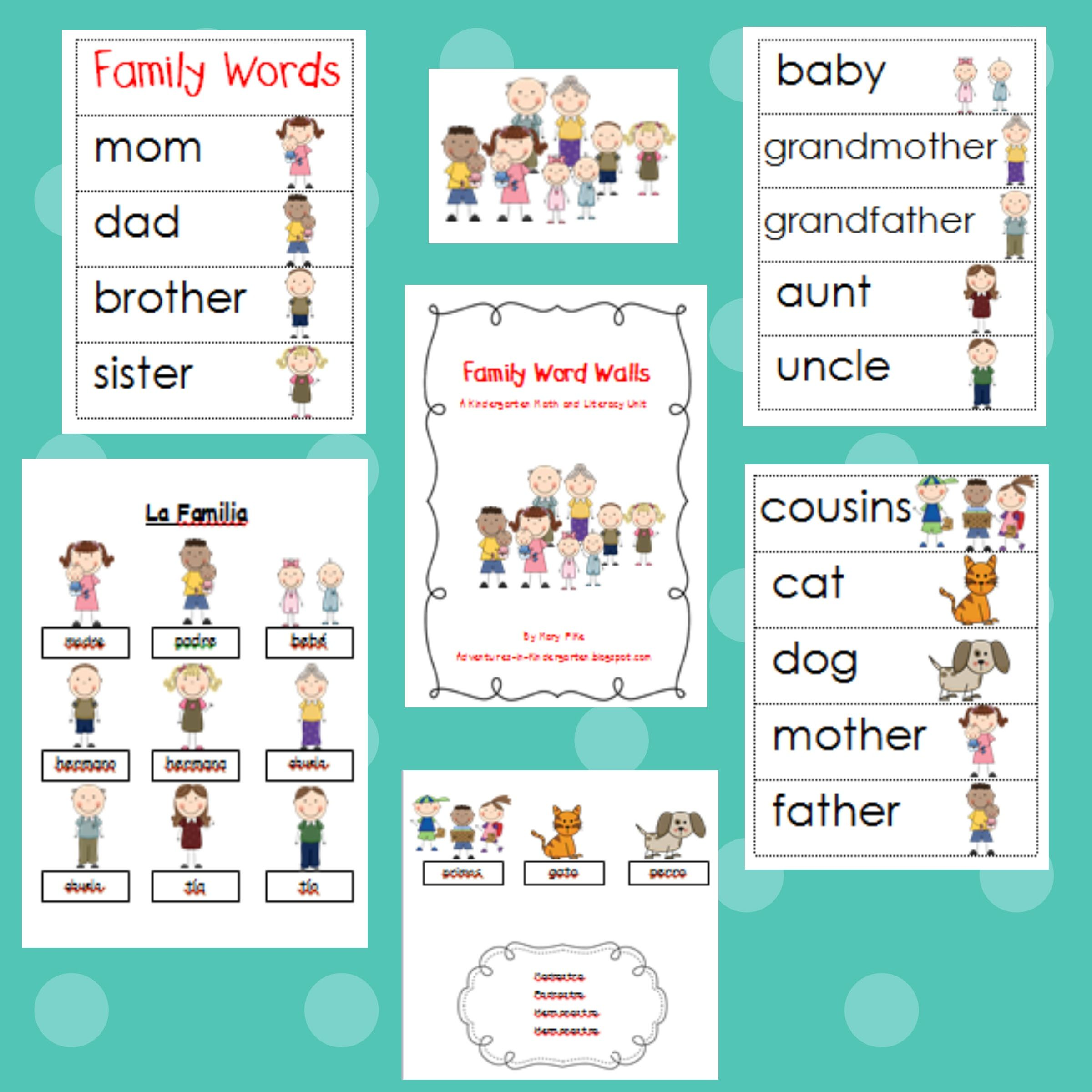 Family Themed Word Cards And Word Walls In English And