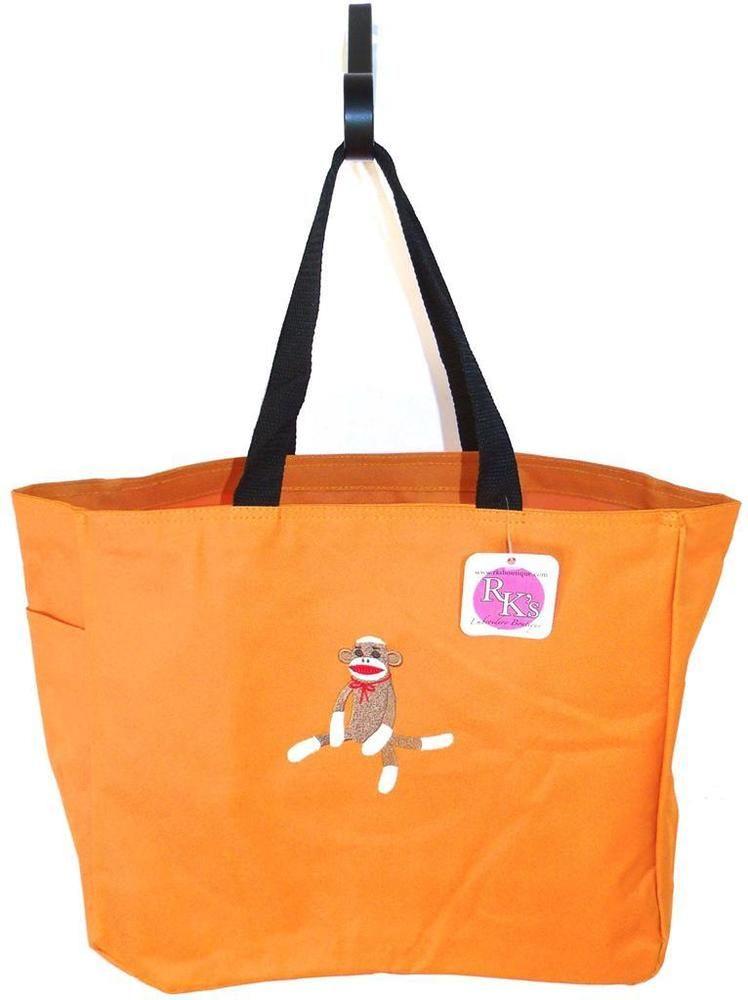 Sock Monkey Red Bow Tote Bag Orange Kid Cute Monogram Embroidered Custom Nwt In