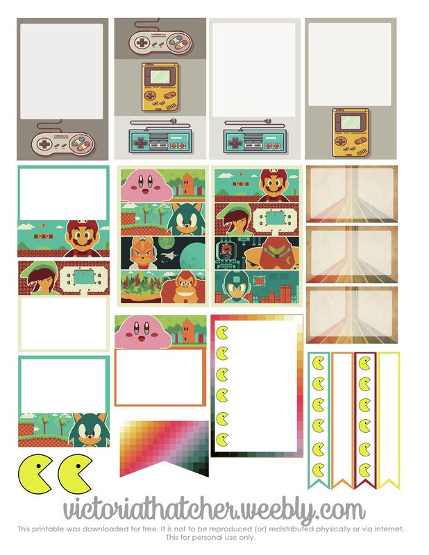 Free Retro Game Planner Stickers Victoria Thatcher Planners and