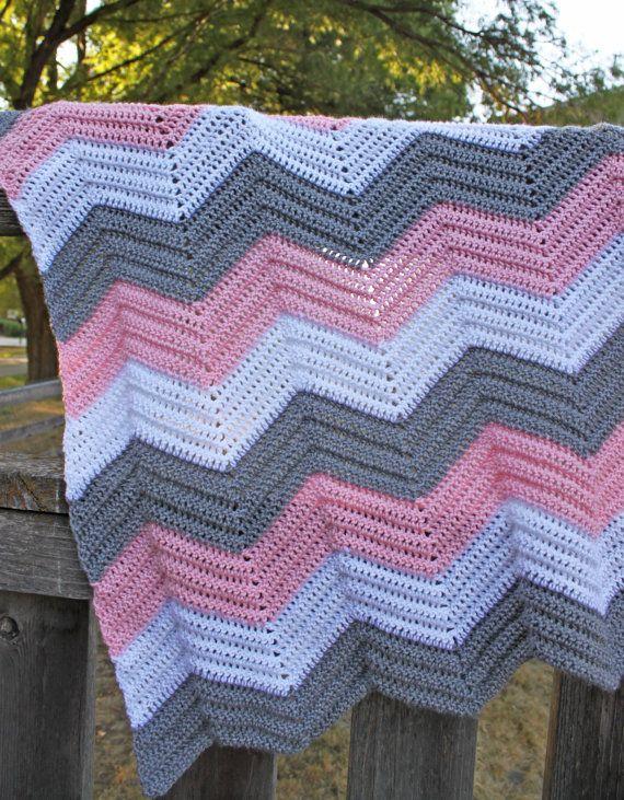 Crochet Chevron Baby Afghan, Made To Order, Custom, Baby ...