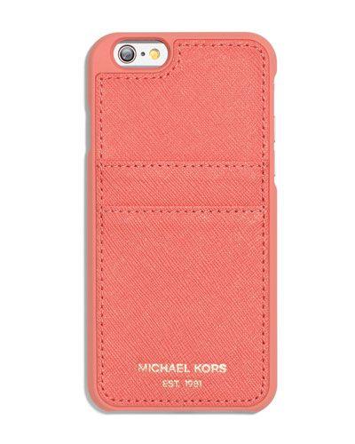 V2WUR MICHAEL Michael Kors Saffiano iPhone 6 Case w/ Pocket, Pink Grapefruit