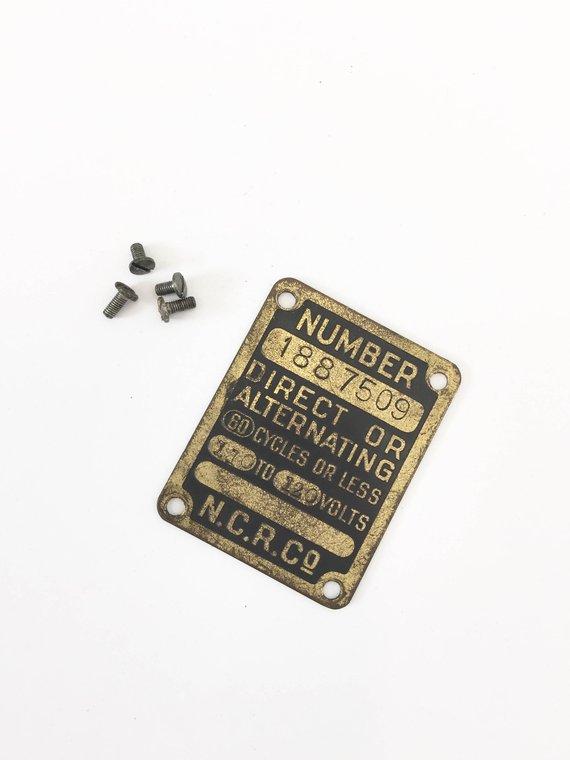 Antique National Cash Register Serial Number Plate Brass Metal